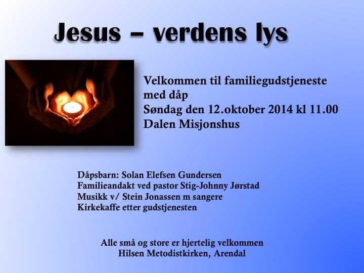 Velkommen til dåpsgudstjeneste 12. okt. kl. 11 på Dalen Misjonshus