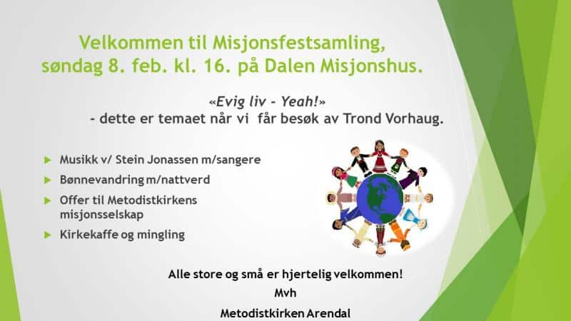 Velkommen til Misjonsfestsamling søndag 8.feb.kl. 16.